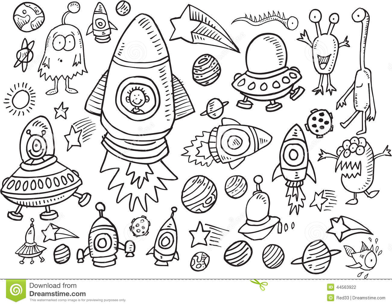 outer space doodle vector set stock vector