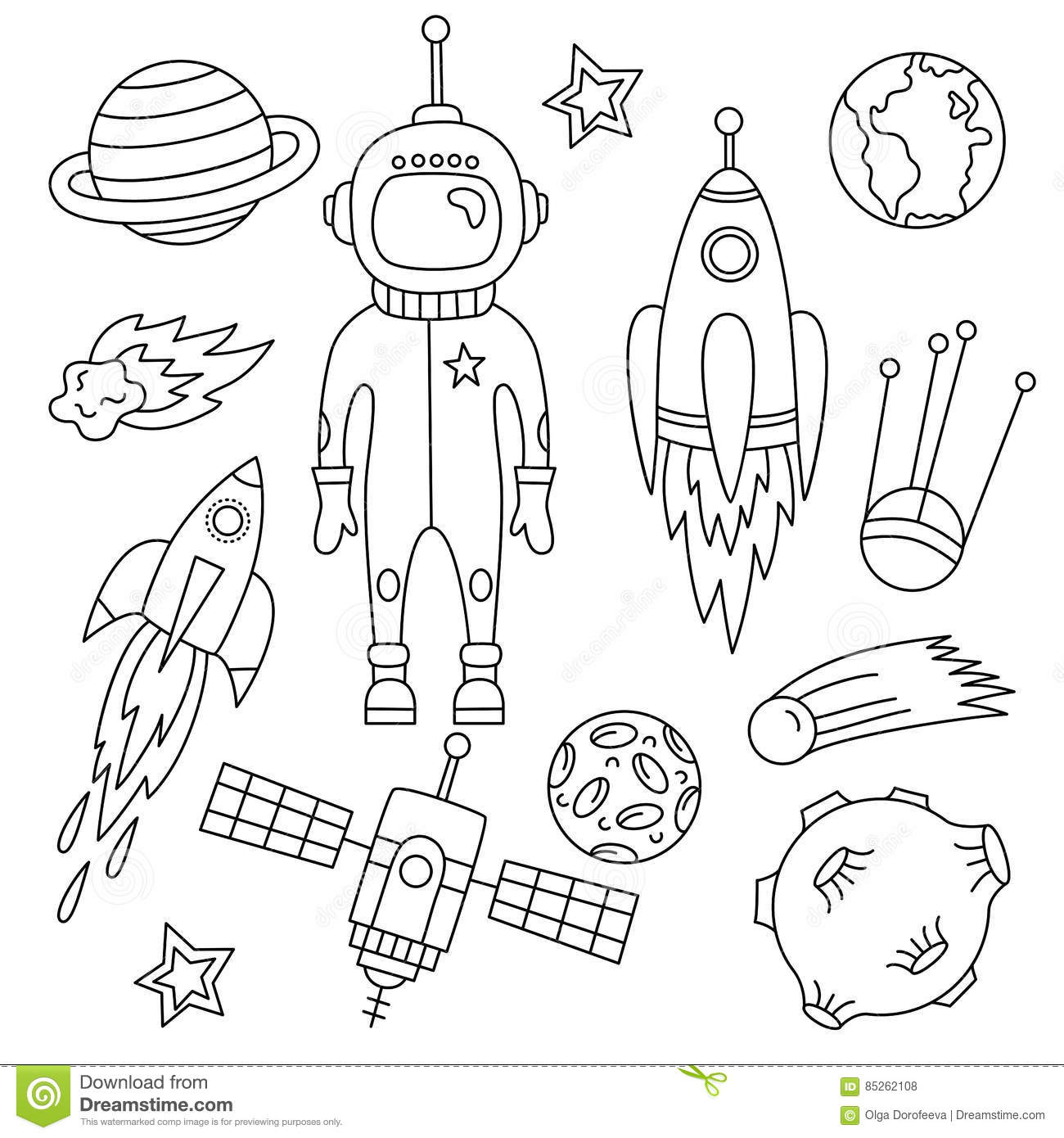 Download Outer Space Doodles Graphic Set Stock Vector