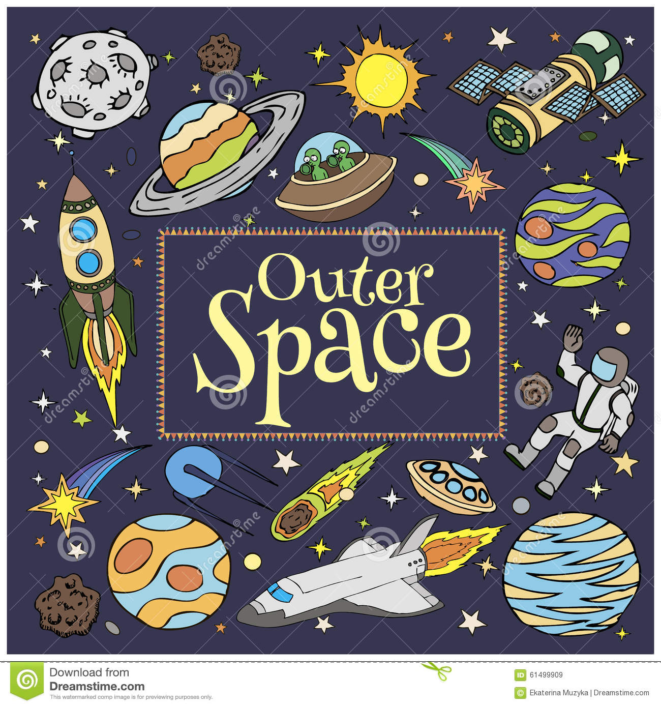 Outer space doodles symbols and design elements stock for Outer space elements
