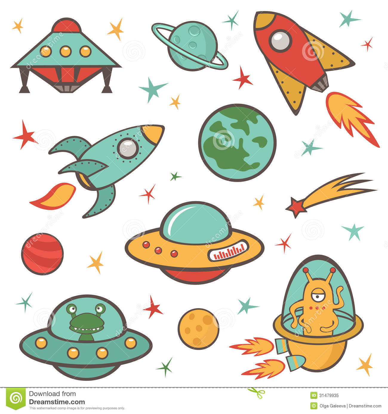 Outer space elements set stock vector illustration of for Outer space elements