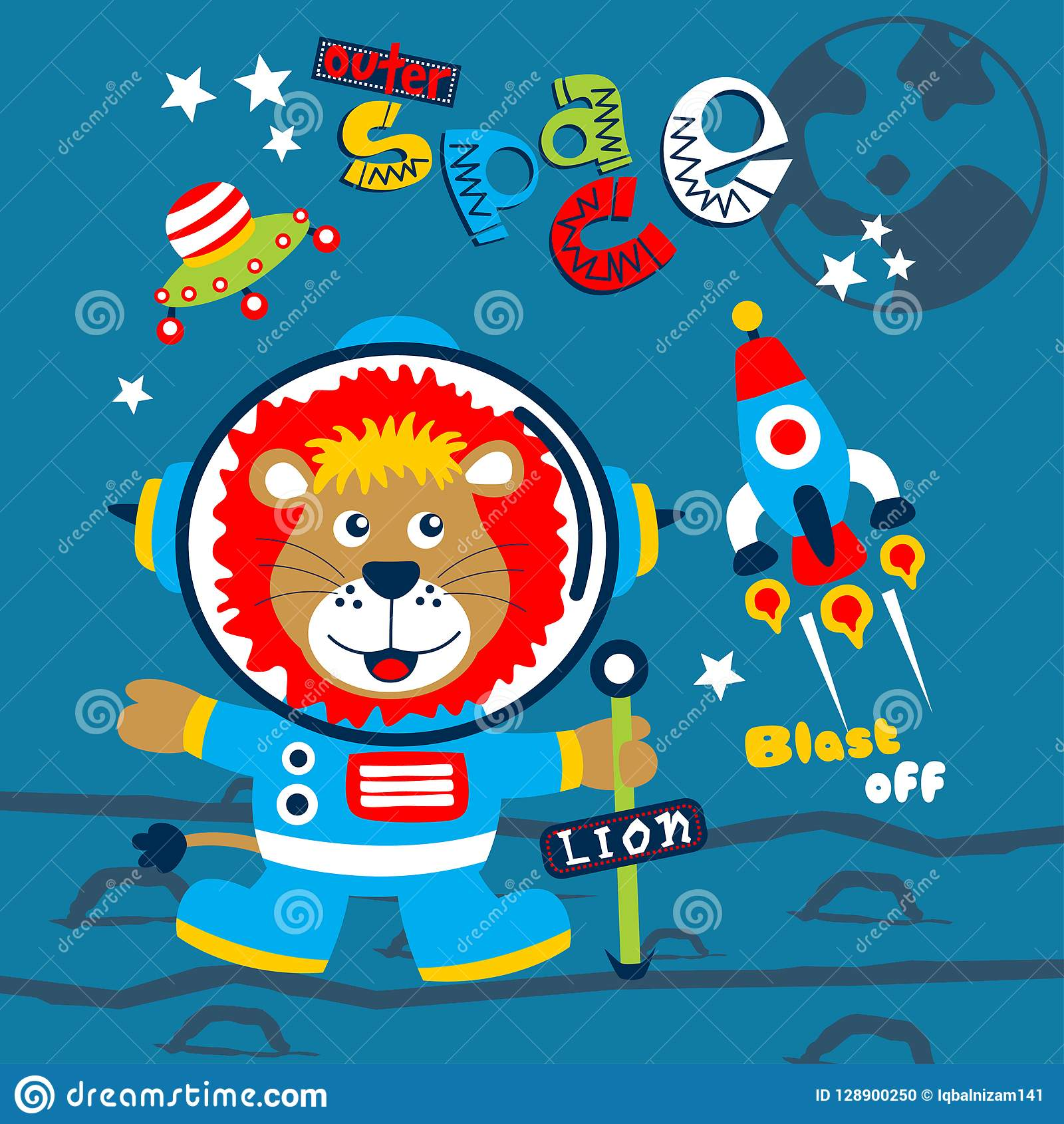 Outer space funny animal cartoon,vector illustration for t shirt and wallpaper or book