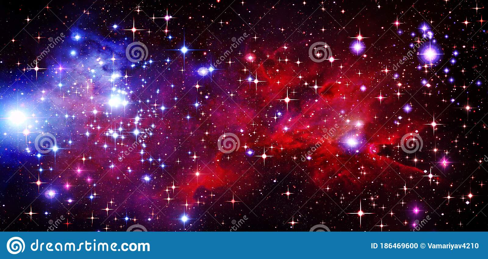 Outer Space Galaxy Universe Astronomy Science Fiction Space Cluster Of Stars Radiance Bright Stars Red Blue Black Stock Illustration Illustration Of Radiance Universe 186469600