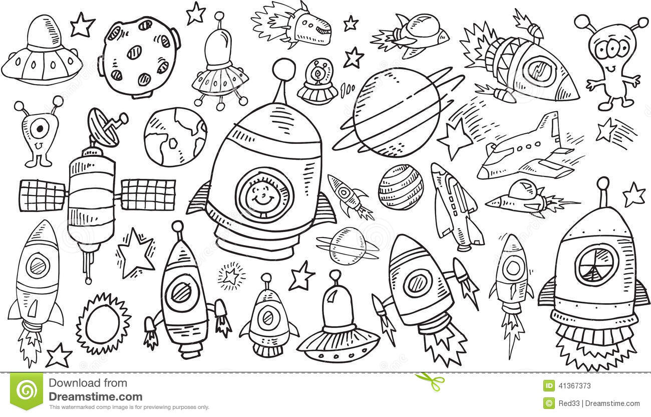 Outer Space Sketch Doodle Set Stock Vector Image 41367373