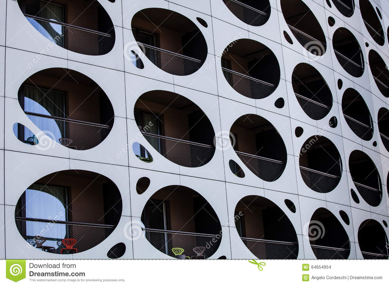 Outer wall modern building balconies with holes porthole for Building outer design