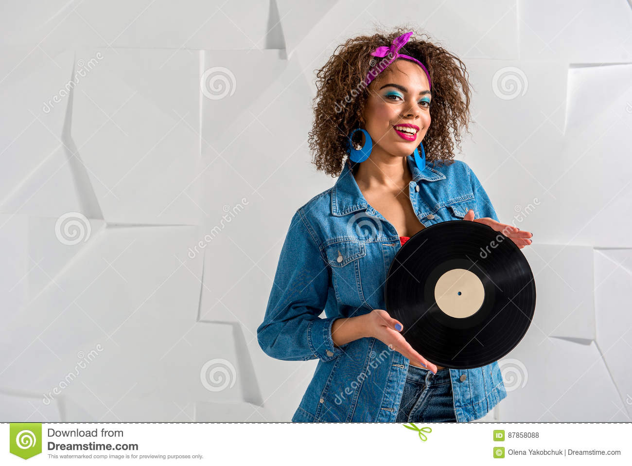 Outgoing African Female Holding Music Platter Stock Photo - Image of