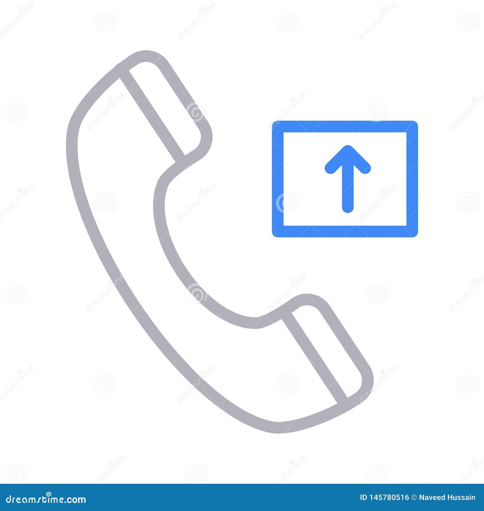 Outgoing Call Thin Color Line Vector Icon Stock Vector ...