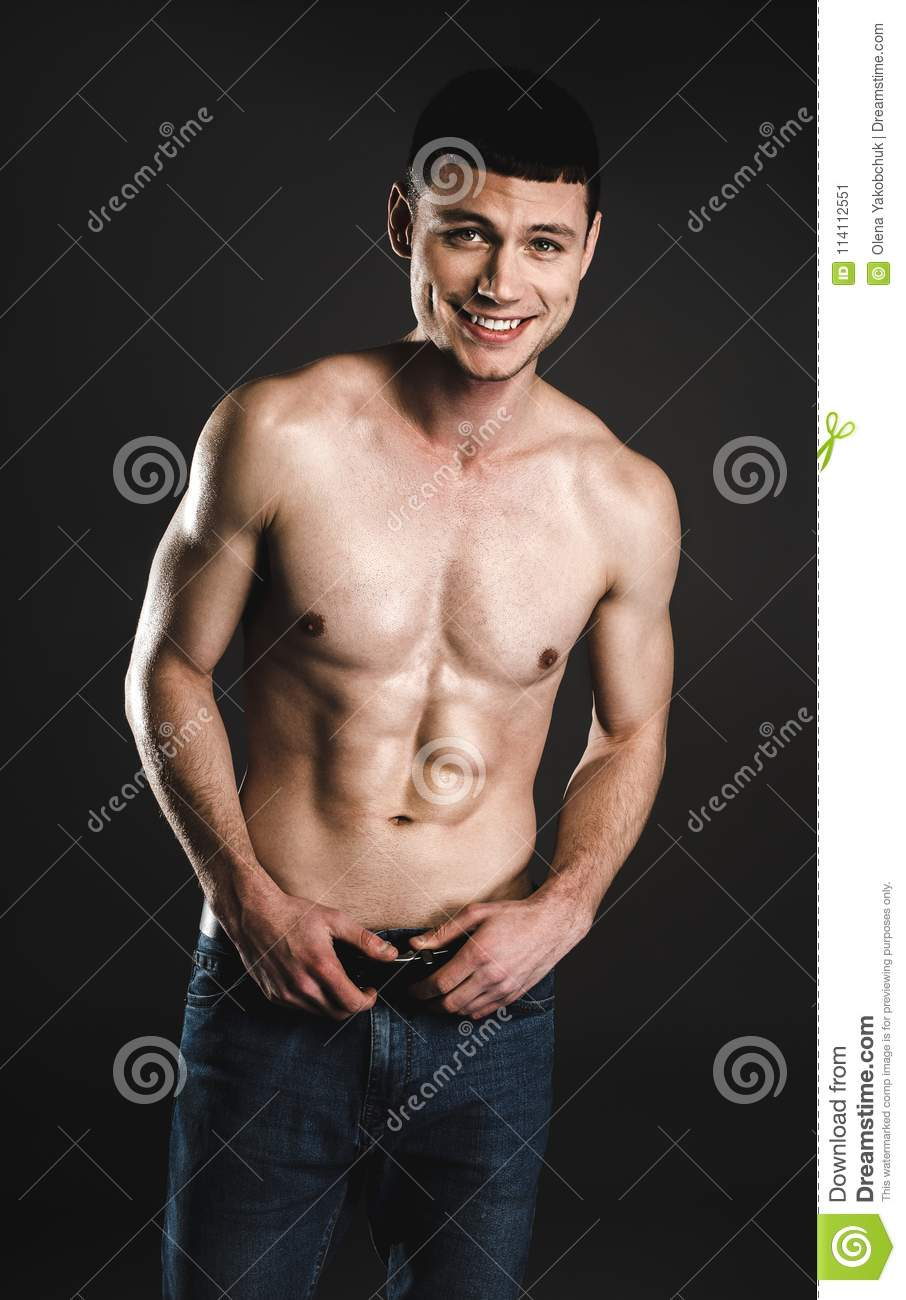 Outgoing Male Stripped To Waist Stock Image Image Of