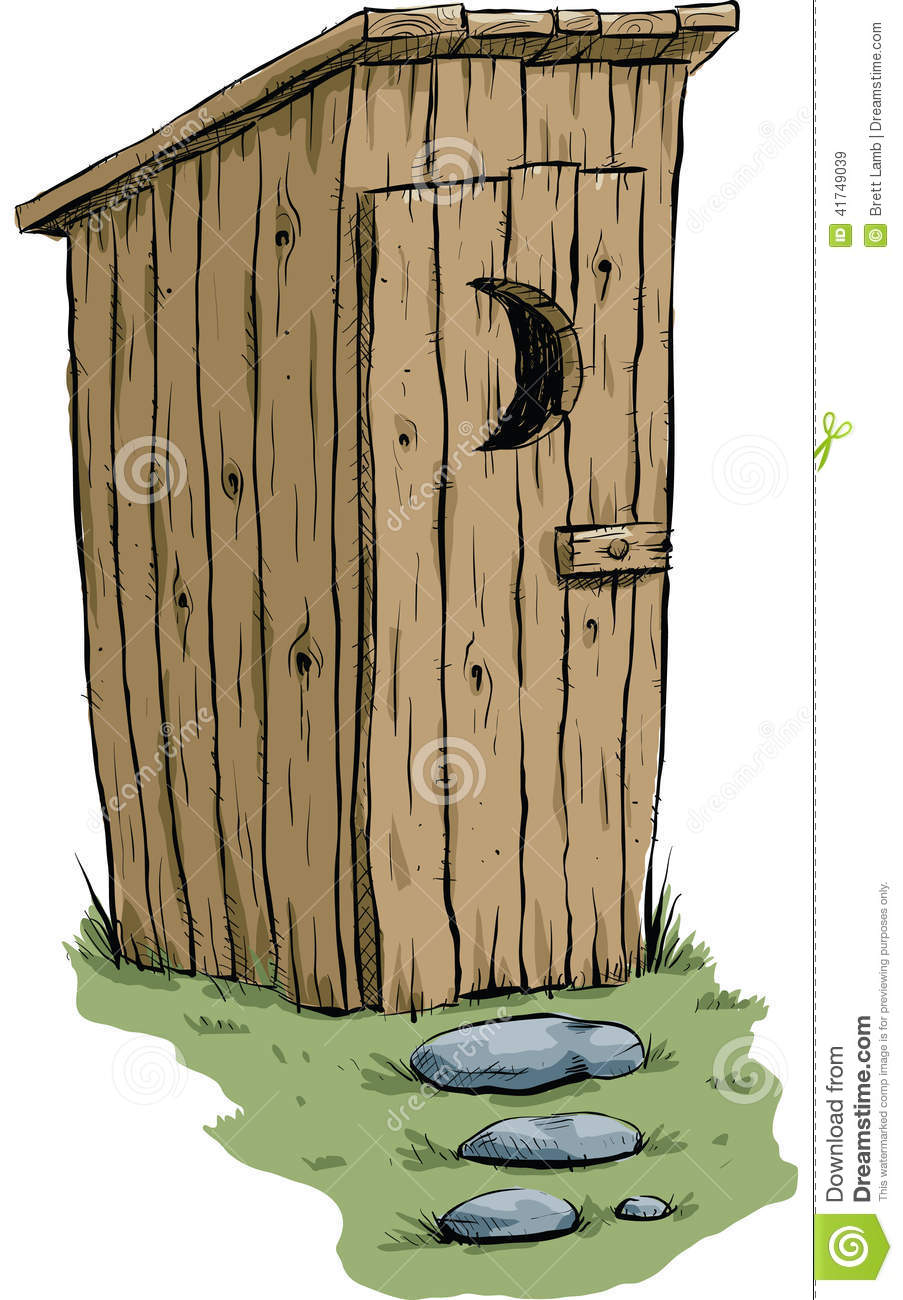 retro cartoon outhouse made of wood with a stone path.
