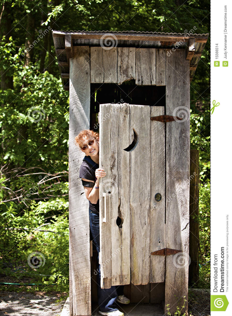 Outhouse With Woman Peeking Out Stock Photo Image 15566514