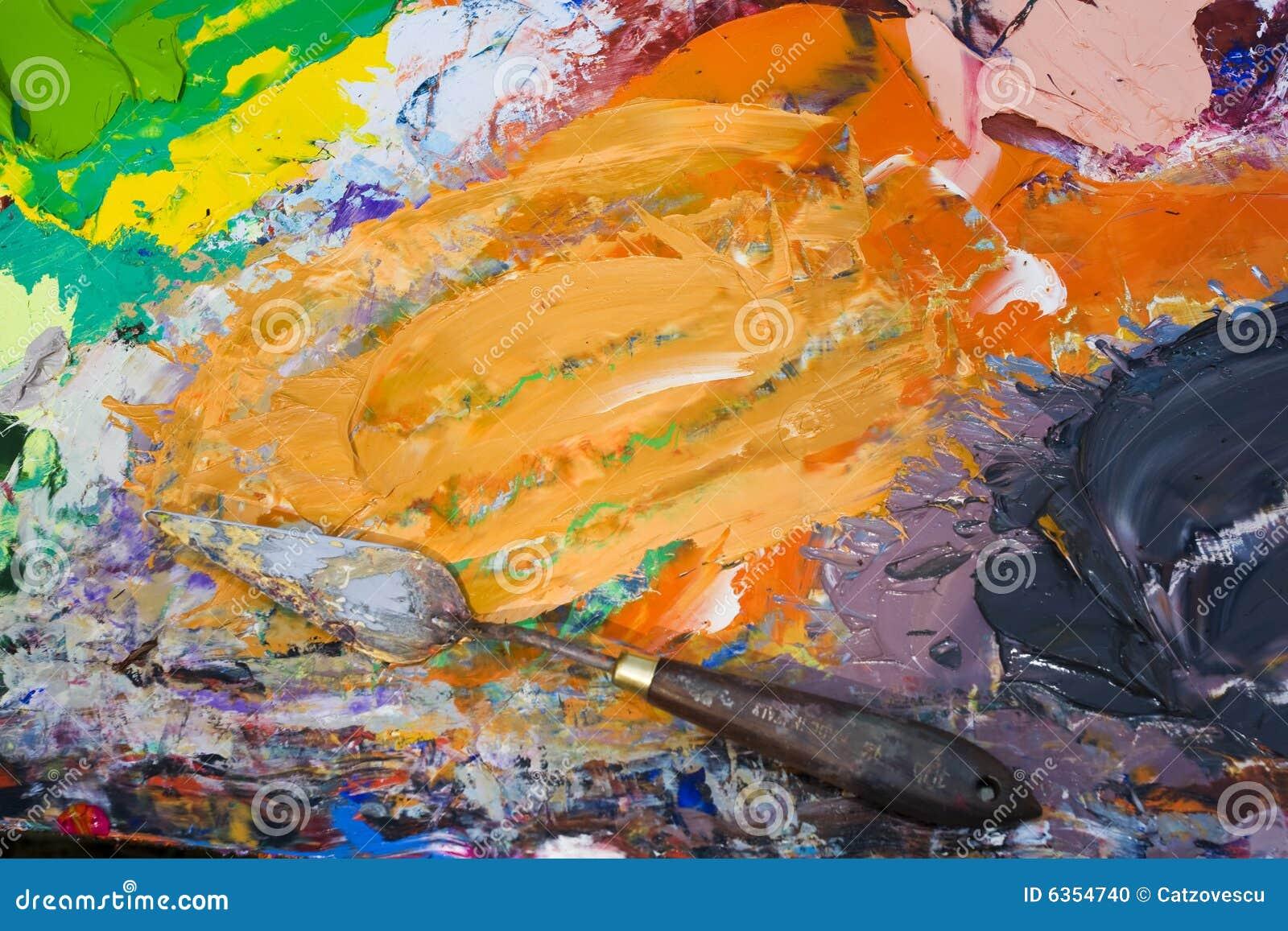 Outil m lang de couleurs l huile et de peinture - Melange de peinture ...