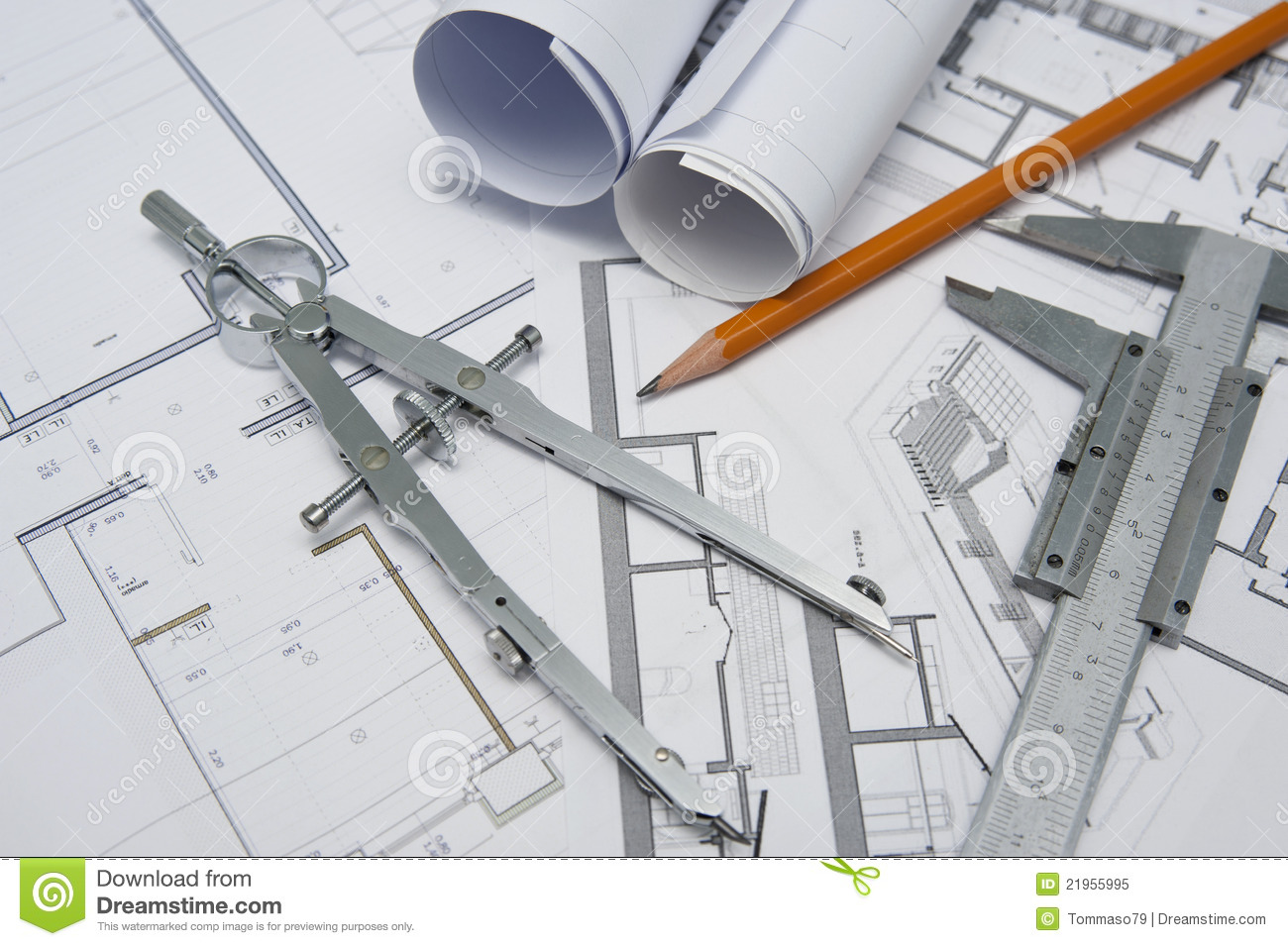 Outils d 39 architecte image stock image du tage plan for Architecture de plan libre