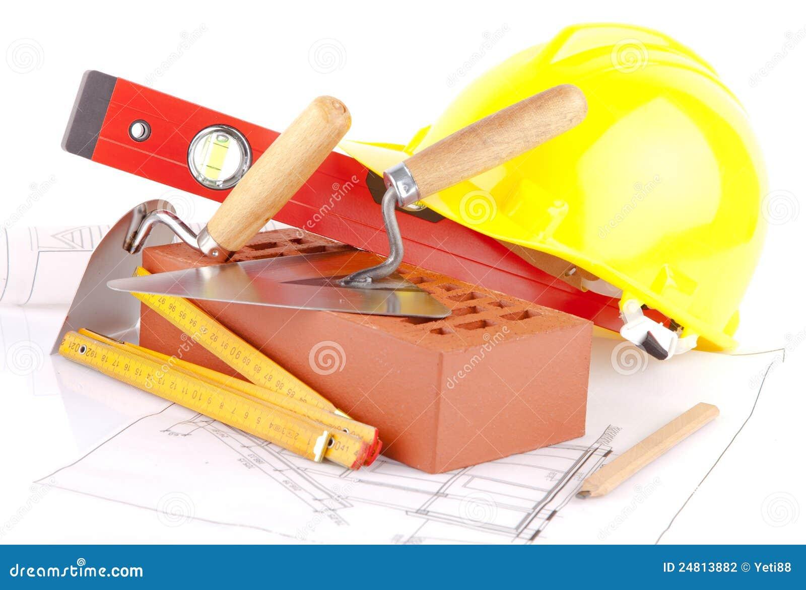 outils de construction de brique et de ma on. Black Bedroom Furniture Sets. Home Design Ideas