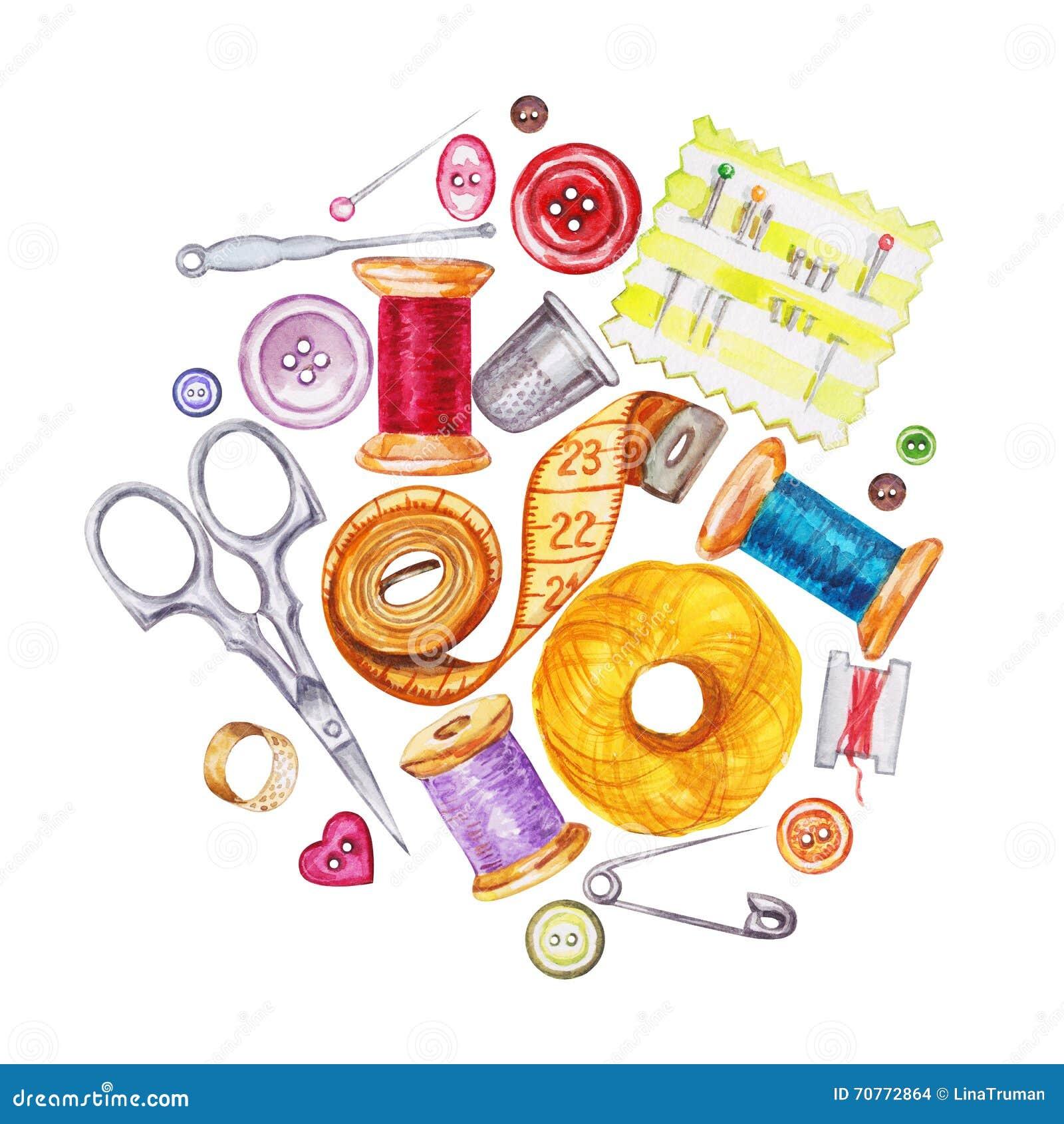 Outils de couture de diverse aquarelle Kit de couture, accessoires