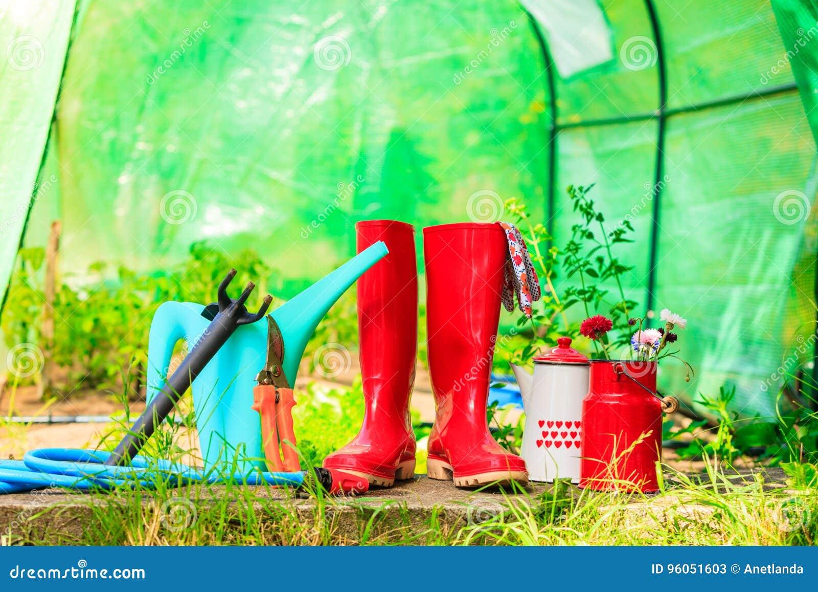 Outils de jardinage extérieurs dans le jardin