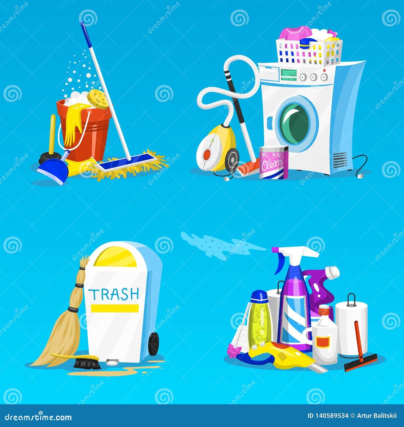 Nettoyage De La Machine À Laver outils de nettoyage placez des icônes de chambre pour l