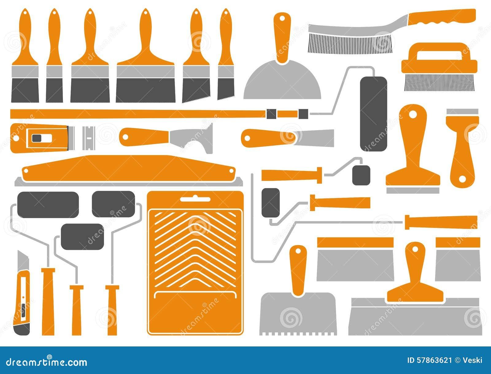 outils et quipement de peinture de chambre illustration de vecteur illustration du maison. Black Bedroom Furniture Sets. Home Design Ideas