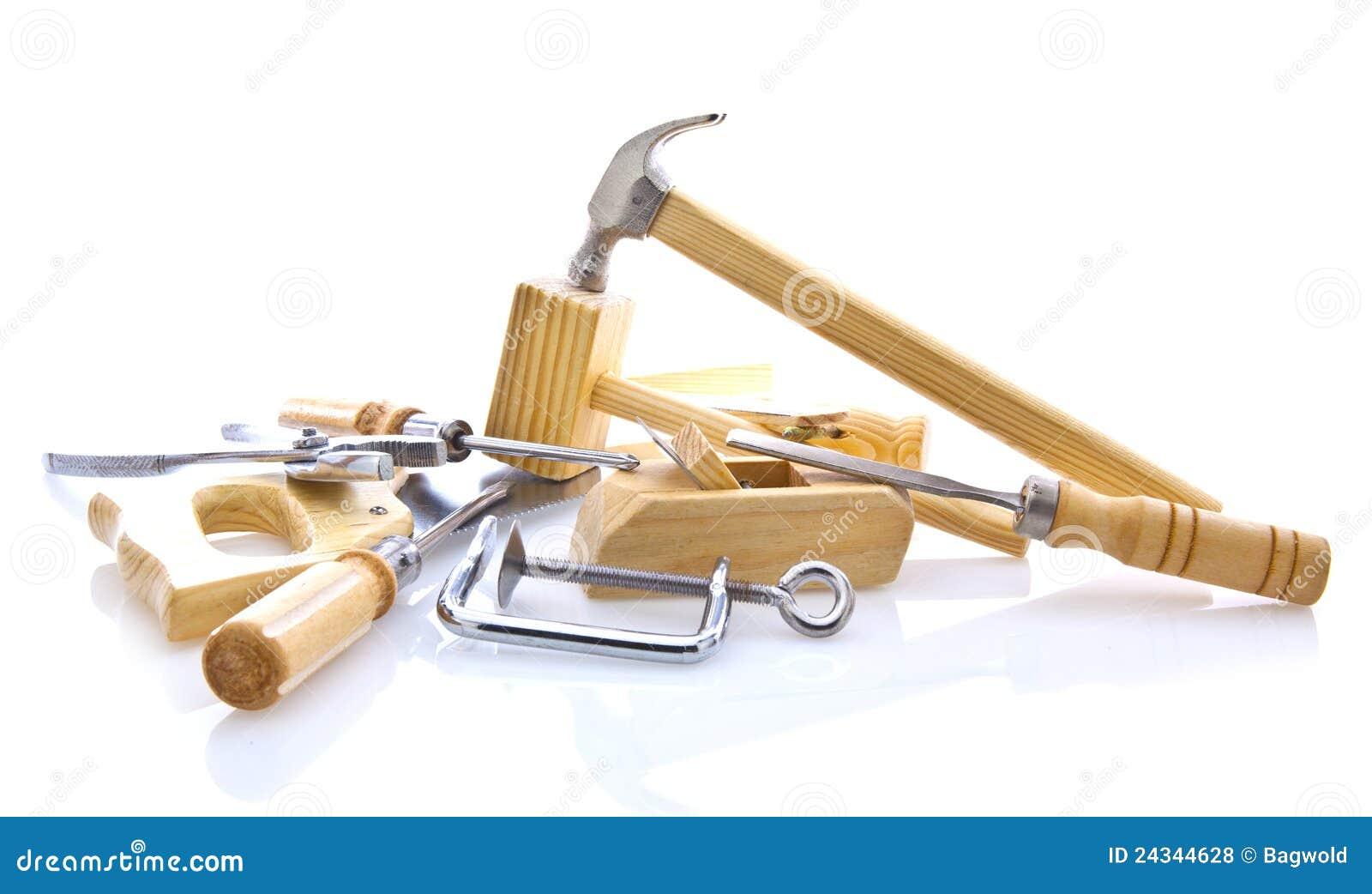 outils main de travail du bois sur le blanc photos libres de droits image 24344628. Black Bedroom Furniture Sets. Home Design Ideas