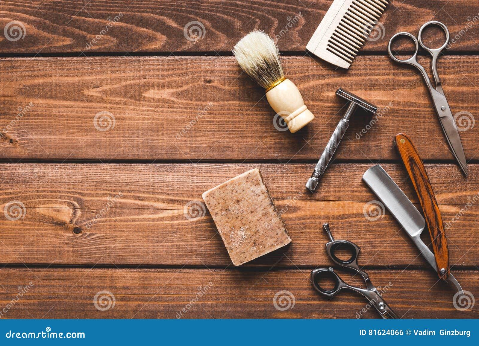 Outils pour couper la vue supérieure de raseur-coiffeur de barbe