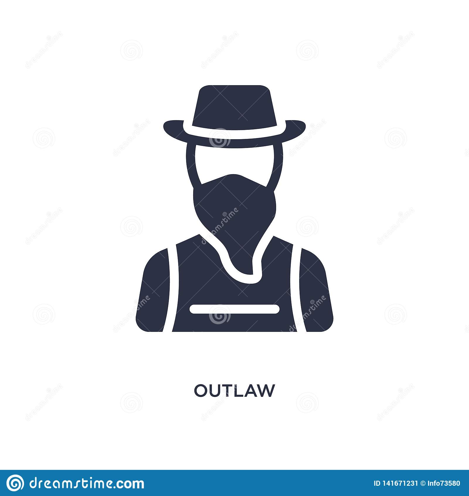 outlaw icon on white background. Simple element illustration from desert concept