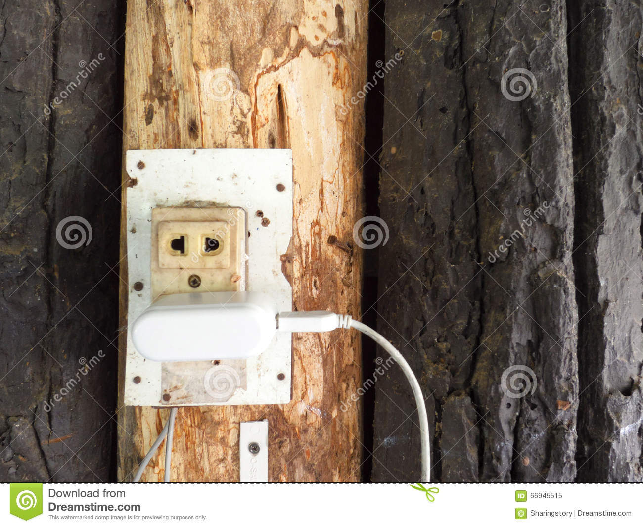 Outlet And Switch On The Background Of Wooden Wall Stock Image Wiring Up Close