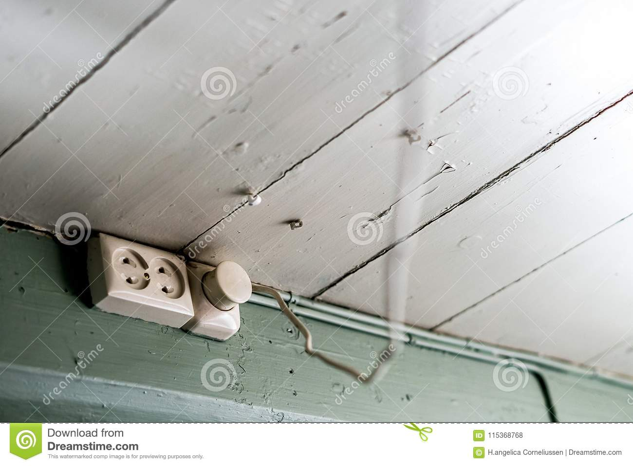 Outlets With A Socket Mounted At The Ceiling In Old House With ...