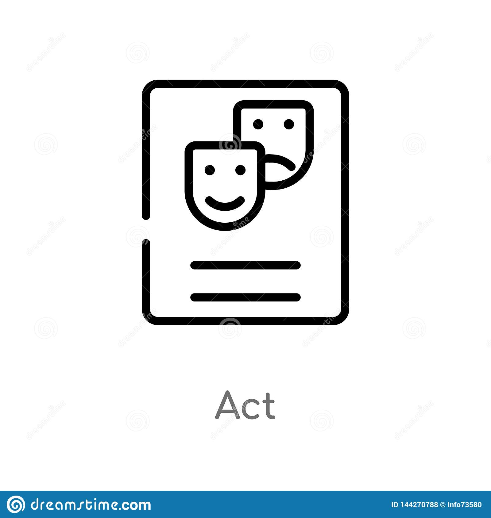 outline act vector icon. isolated black simple line element illustration from art concept. editable vector stroke act icon on