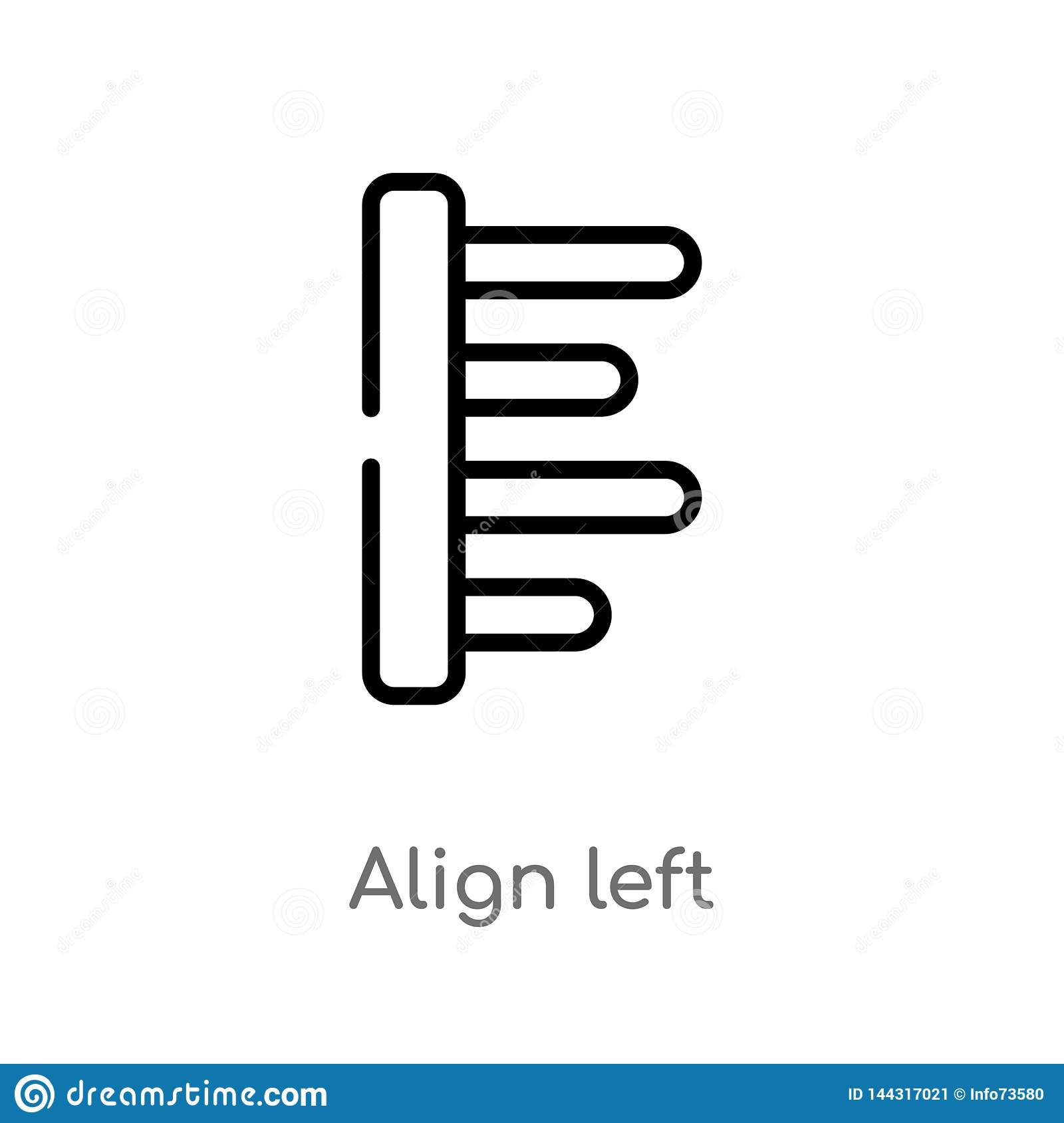 outline align left vector icon. isolated black simple line element illustration from signs concept. editable vector stroke align