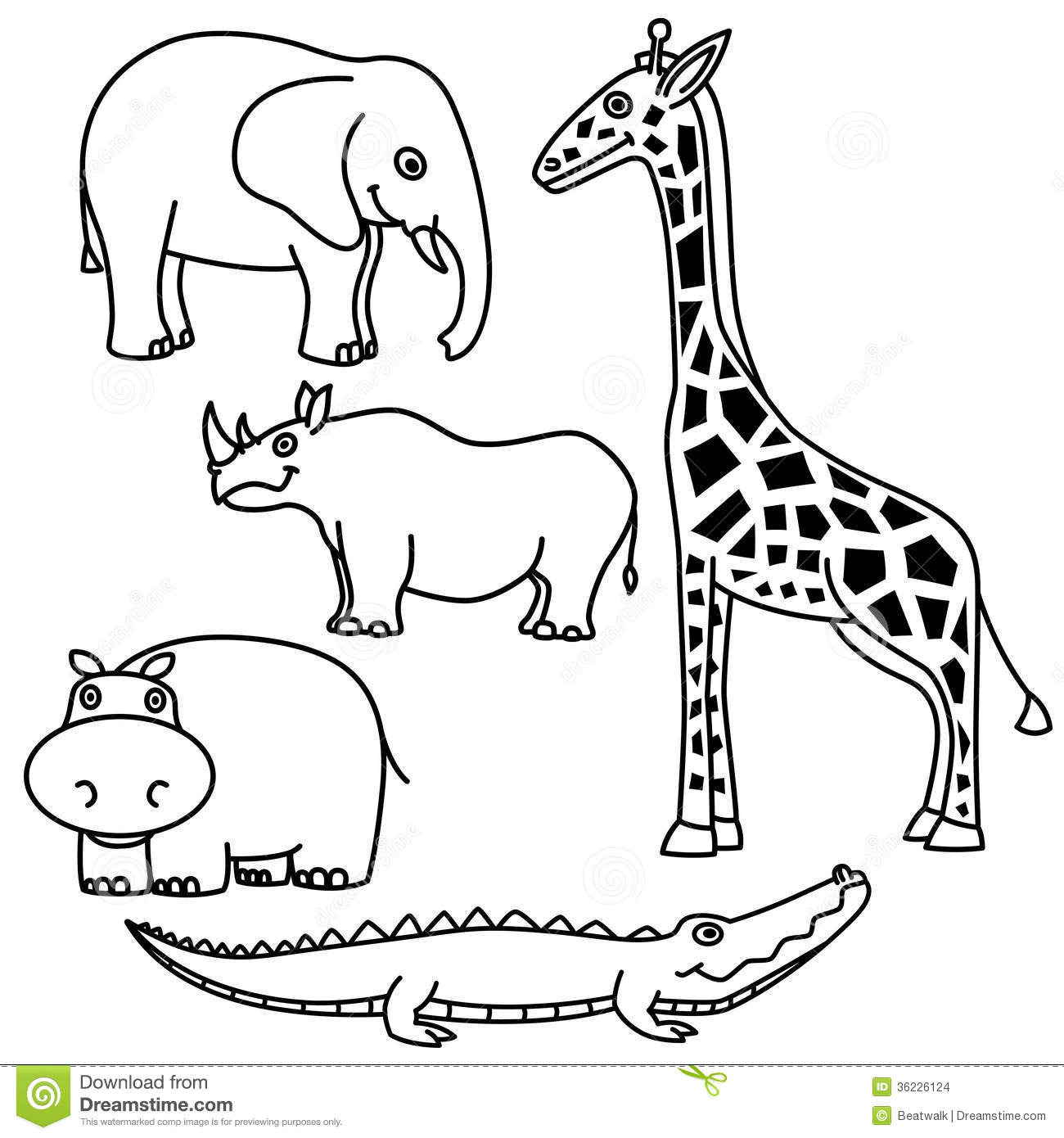 outline animals set outlines white background vector illustration 36226124