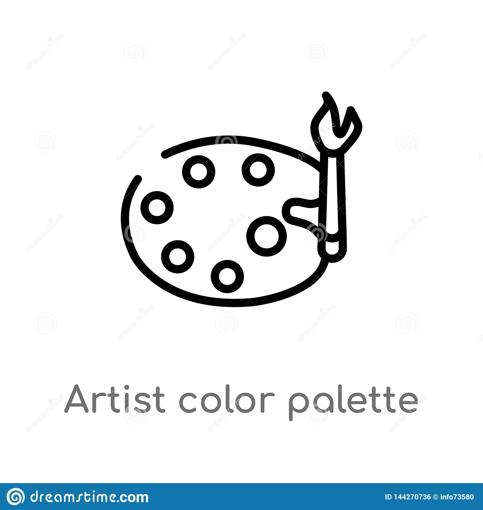 outline artist color palette vector icon. isolated black simple line element illustration from art concept. editable vector stroke