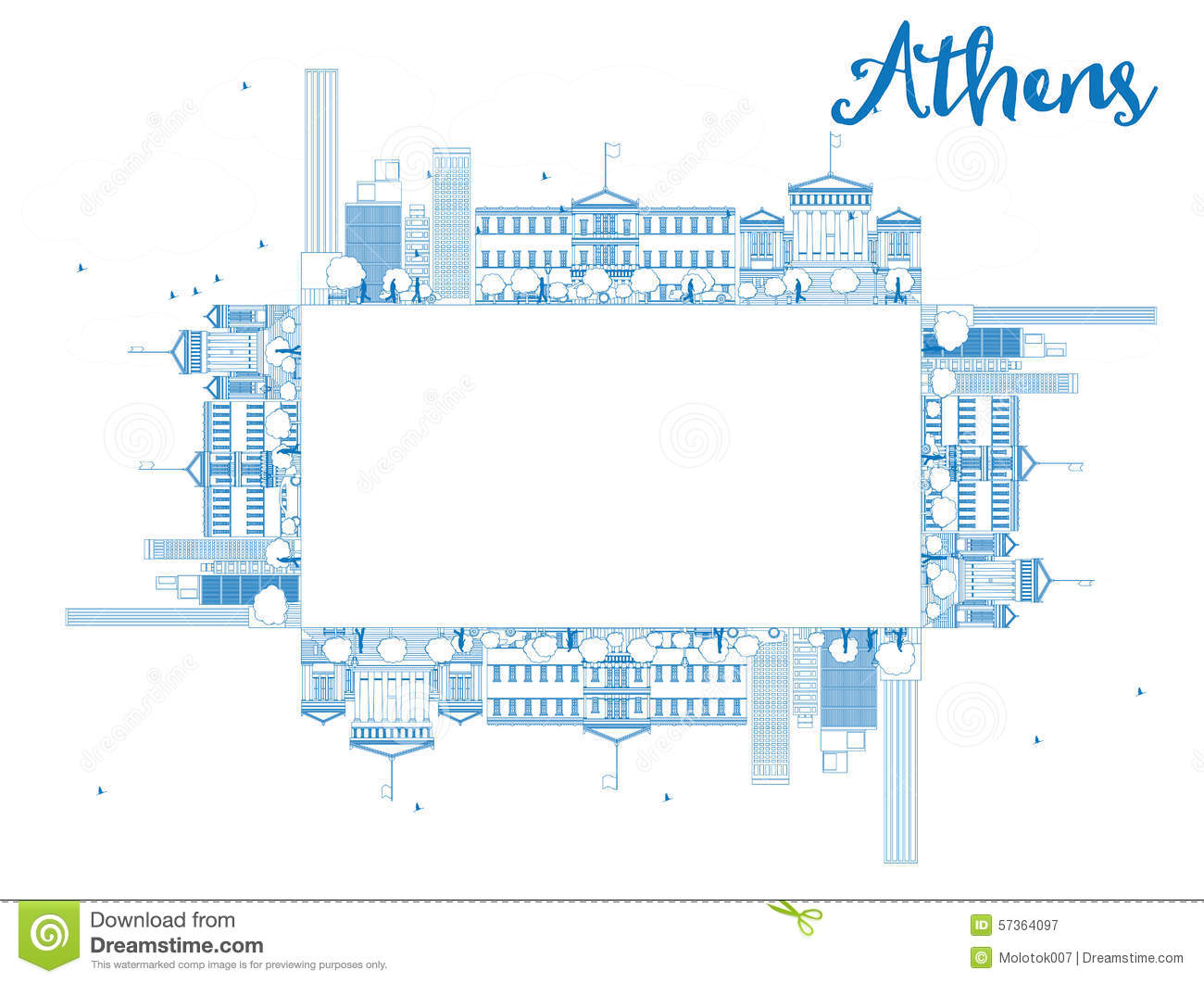 Outline athens skyline with blue buildings and copy space stock vector - Royalty Free Vector Athens Blue Copy Illustration Outline Skyline Space