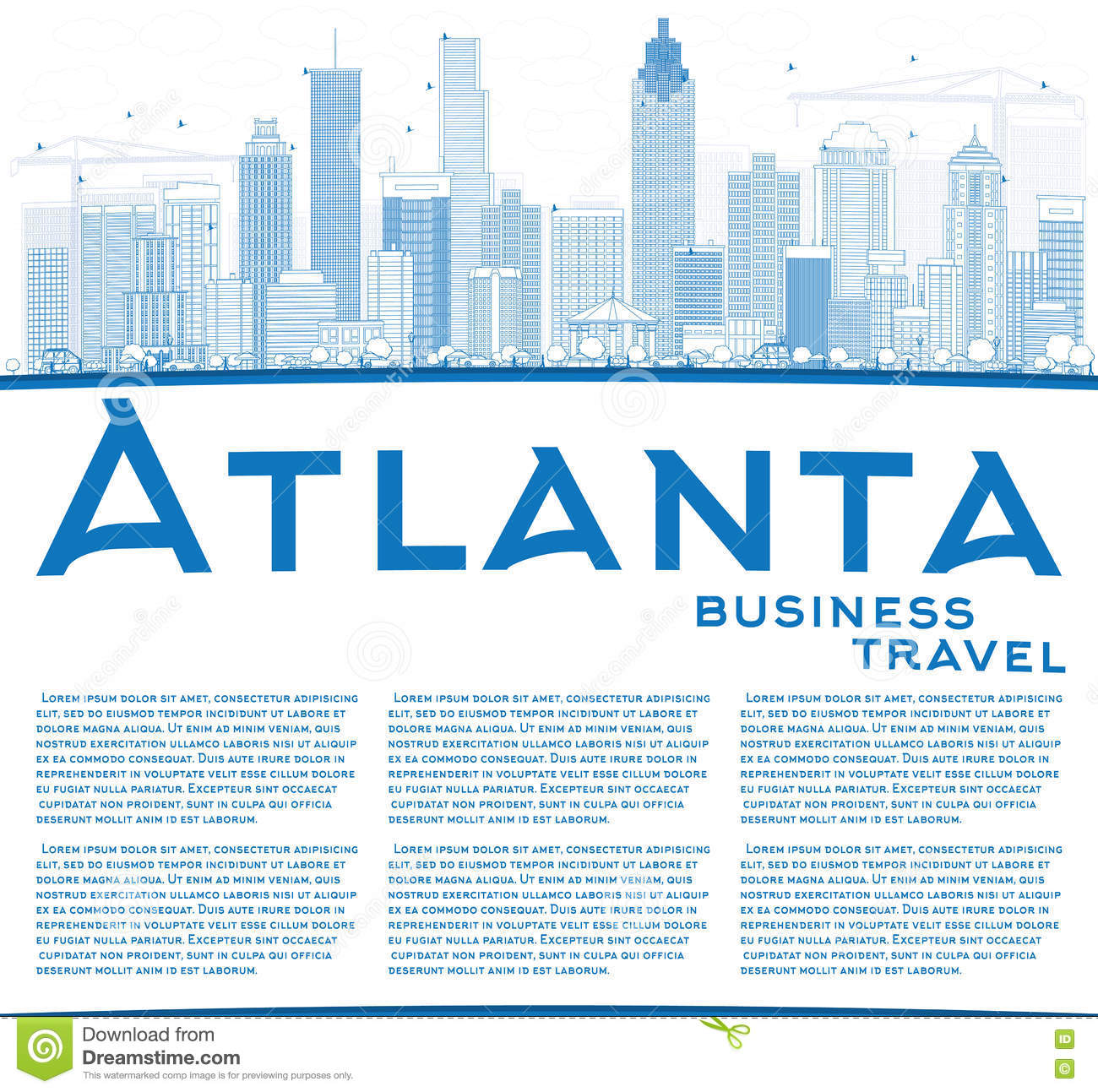 Commercial Landscaping Atlanta Austell Ga: Outline Atlanta Skyline With Blue Buildings And Copy Space