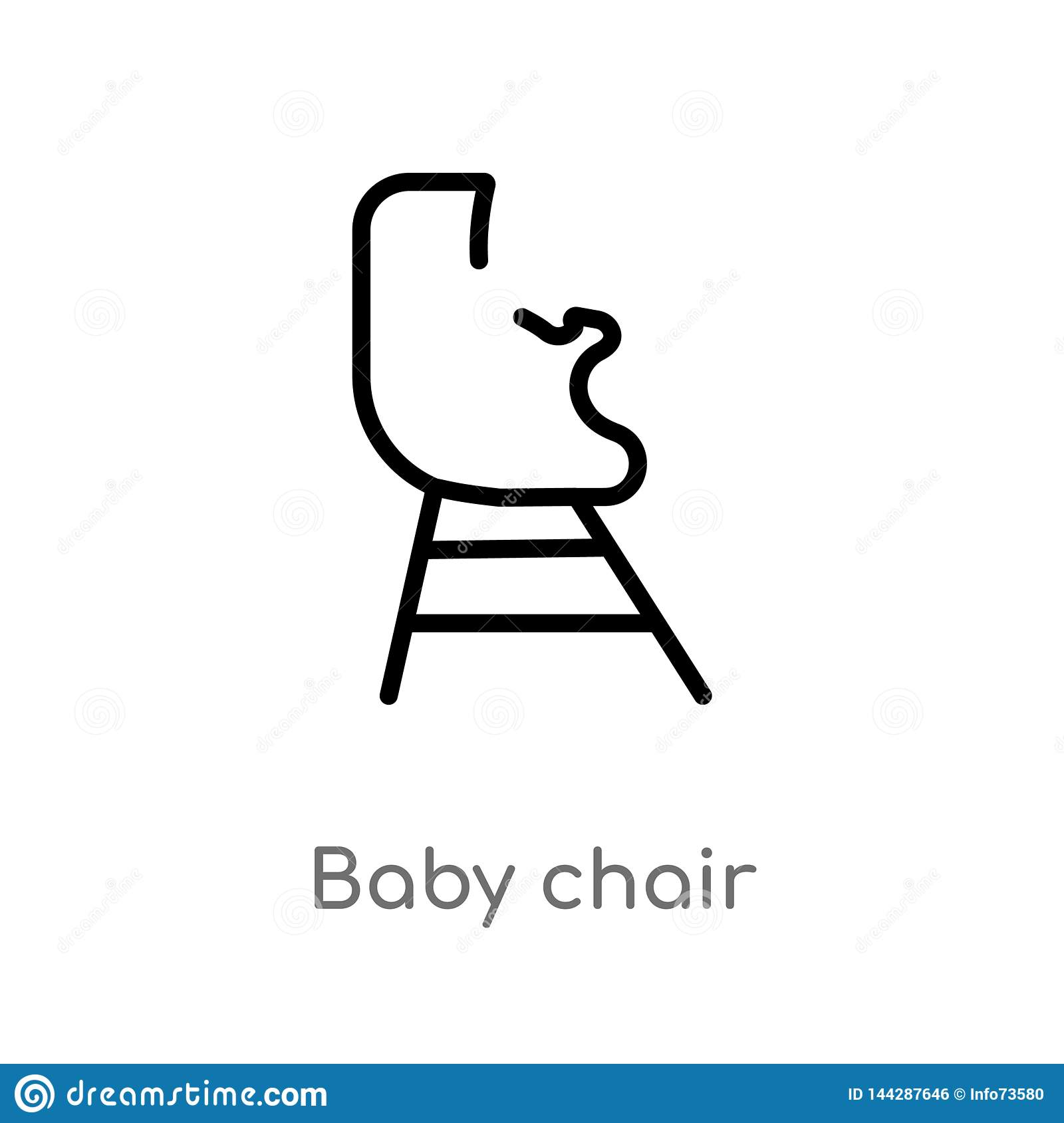 Outline Baby Chair Vector Icon Isolated Black Simple Line Element