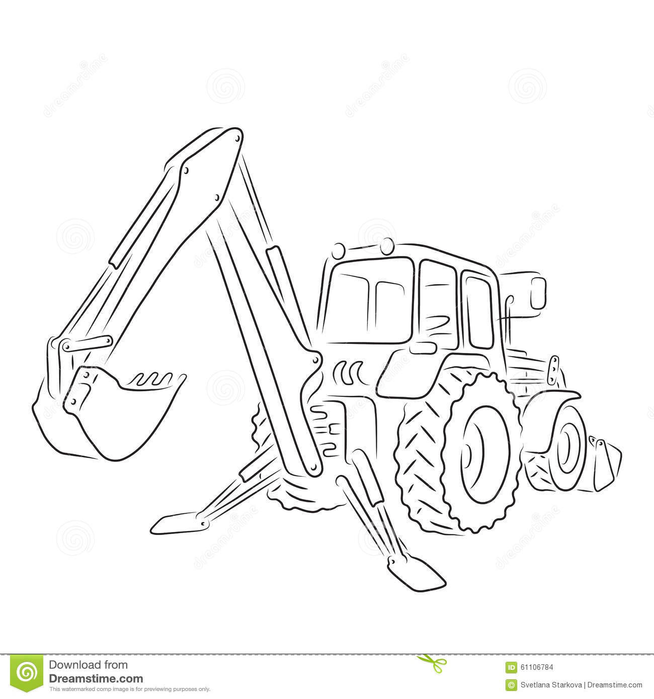 Outline Backhoe Loader Vector Illustration