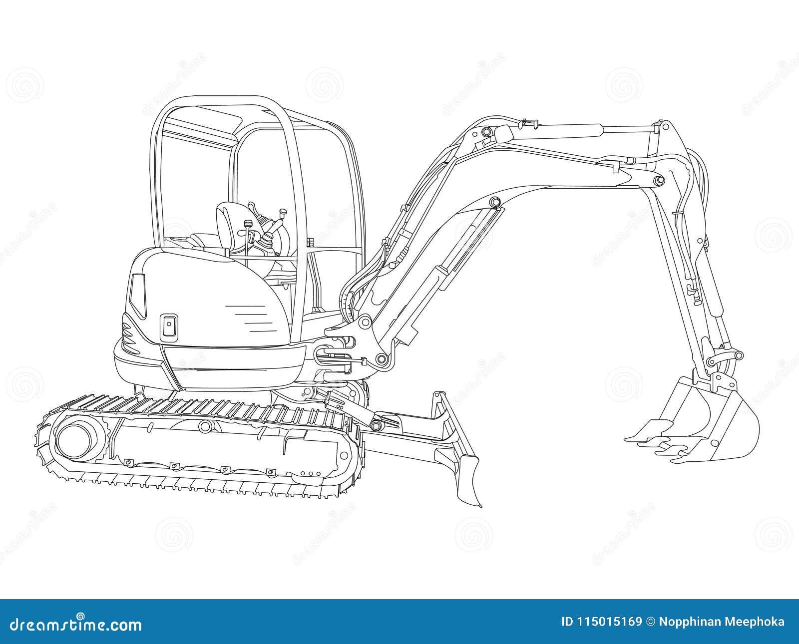 the sketch of a hydraulic cylinder cartoon vector