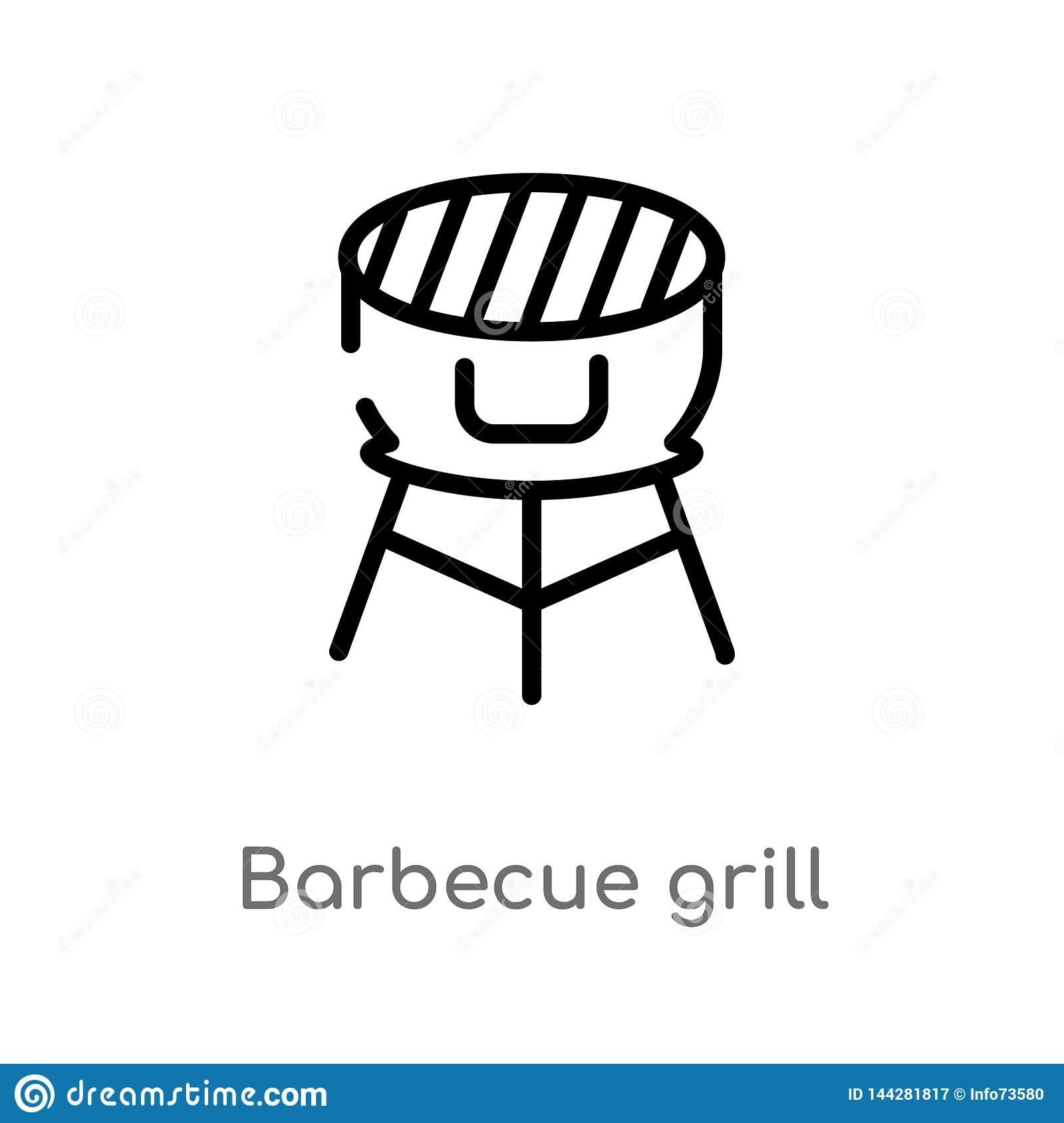 outline barbecue grill vector icon. isolated black simple line element illustration from food concept. editable vector stroke