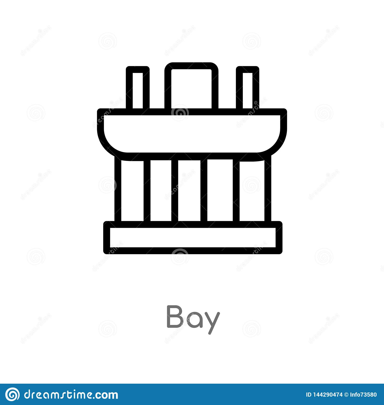 outline bay vector icon. isolated black simple line element illustration from monuments concept. editable vector stroke bay icon