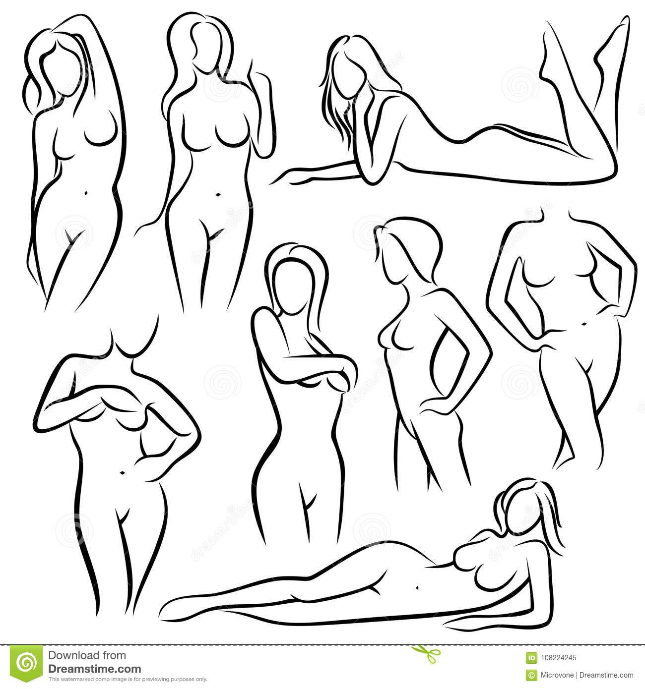 a38bcce6a Outline beautiful woman vector silhouettes. Line female body beauty  symbols. Sketch of woman model posing