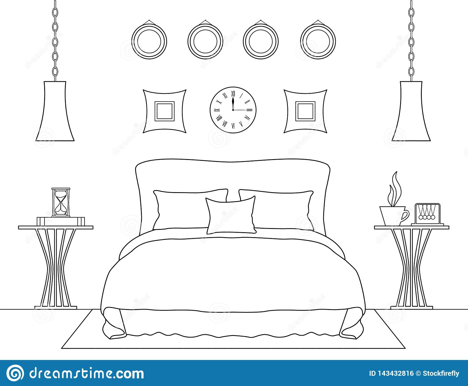 Outline Bedroom Interior. Vector Illustration. Room Template Stock