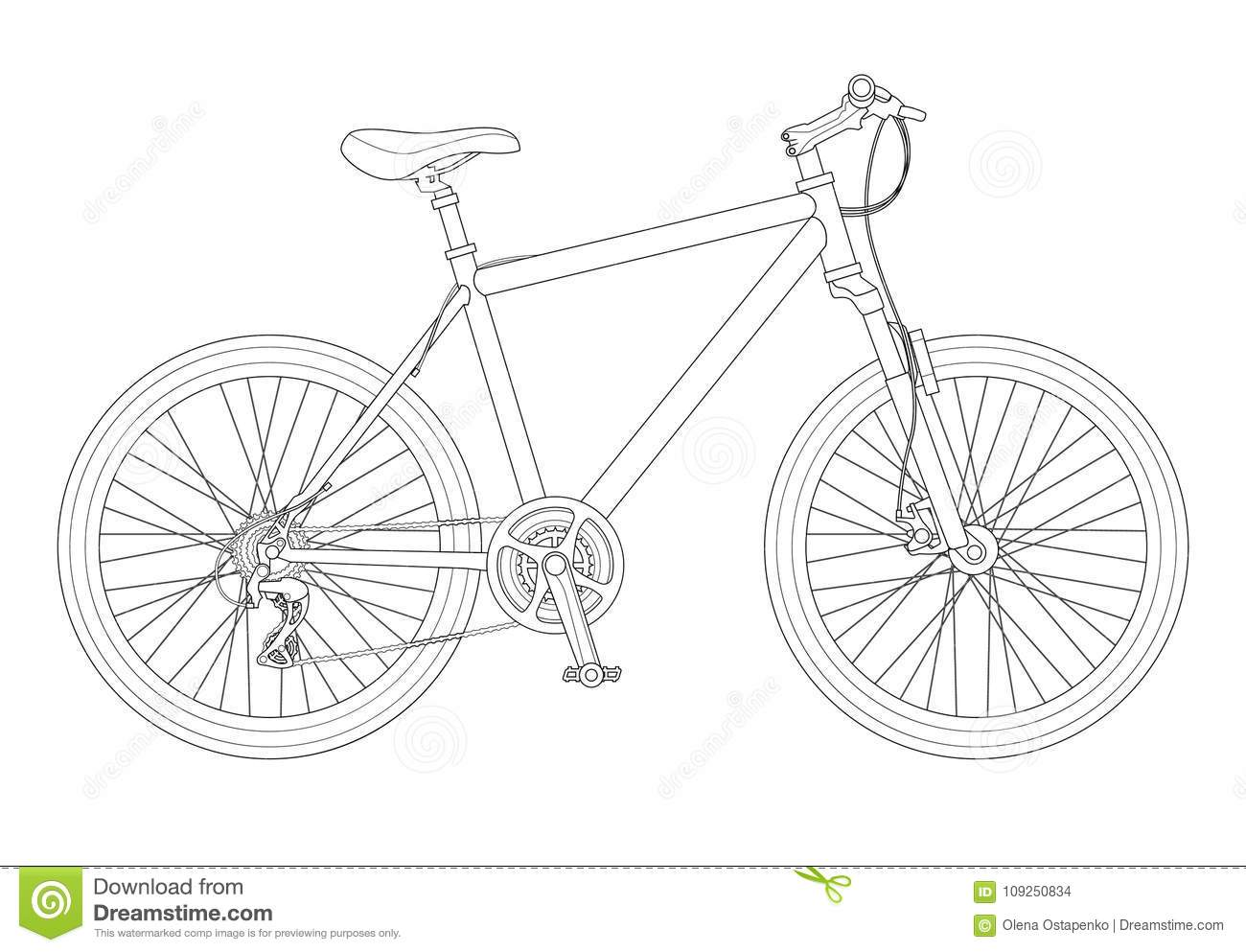 outline bicycle outline isolated on white background mountain bike