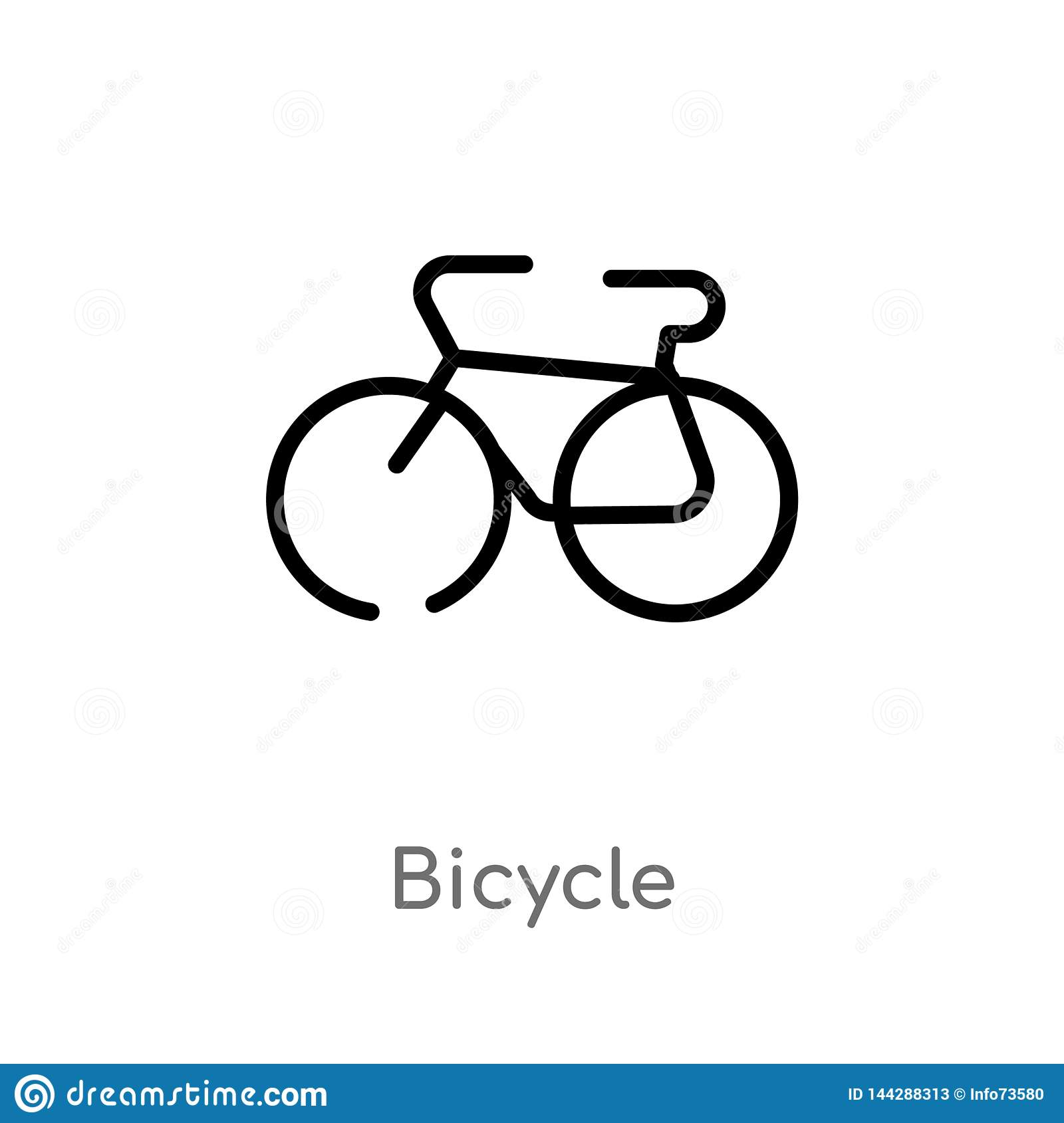Outline Bicycle Vector Icon  Isolated Black Simple Line Element