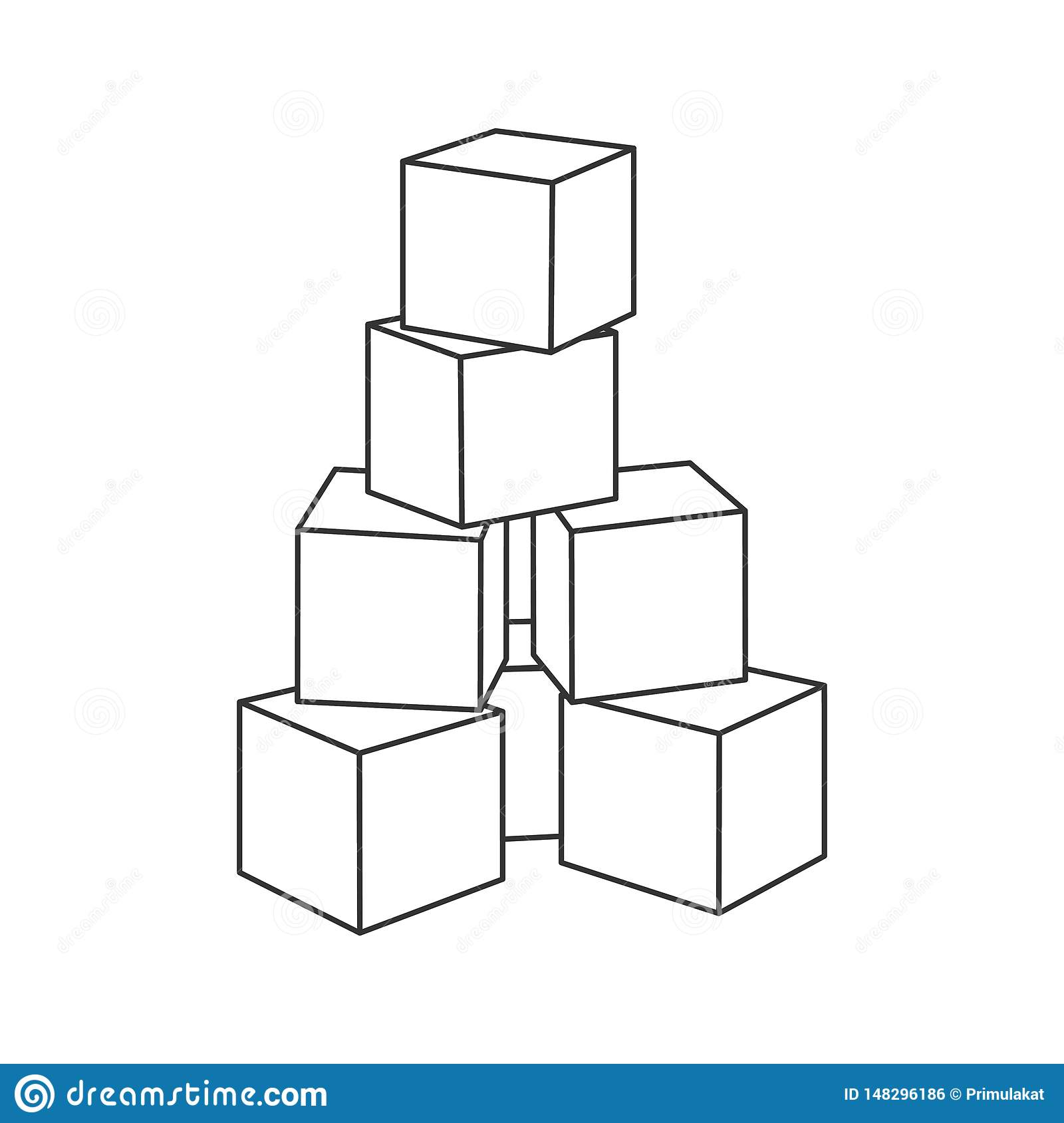 Outline Block Building Tower For Coloring Book Stock ...