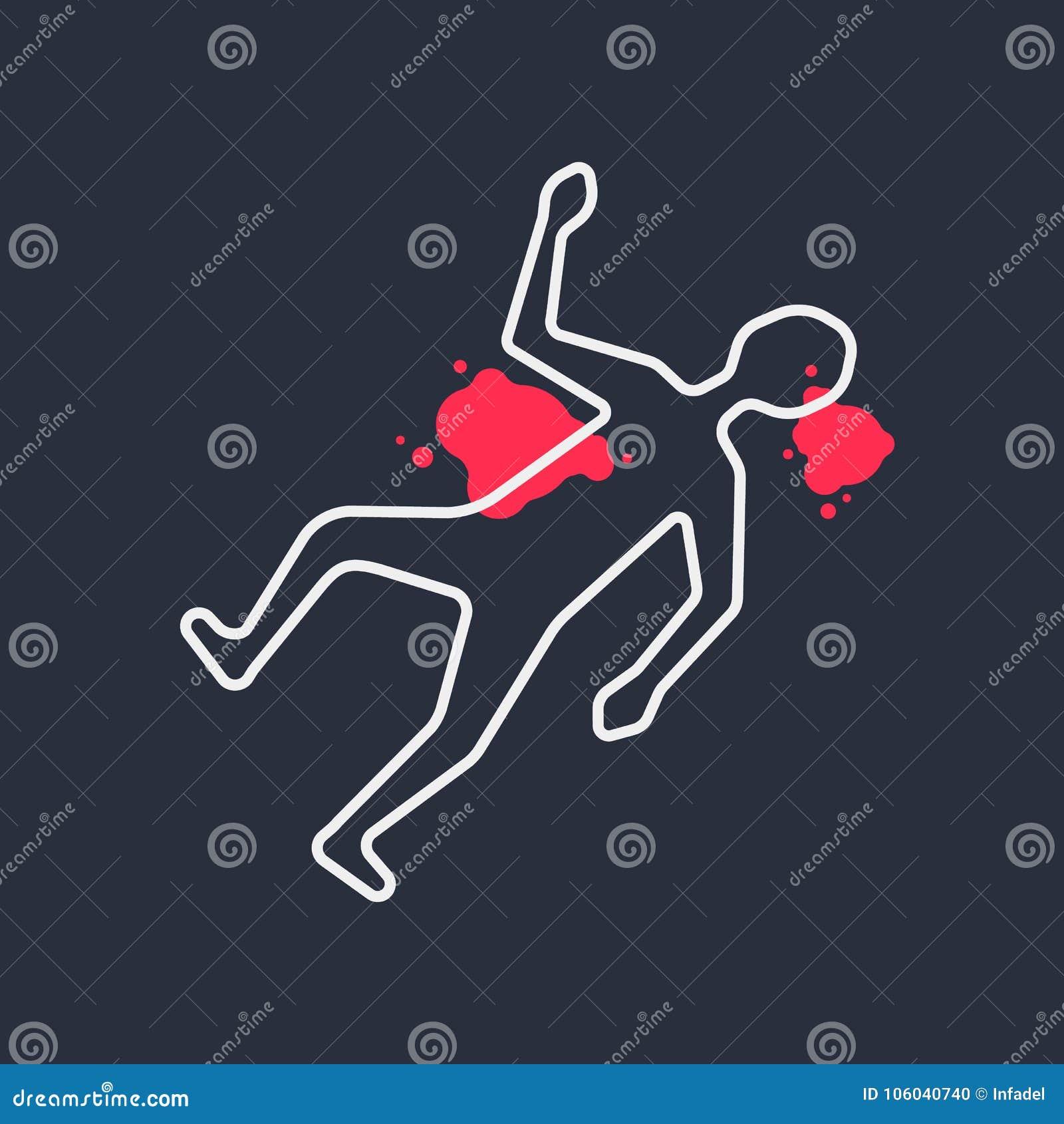 Outline Body Like Simple Crime Scene Stock Vector - Illustration of