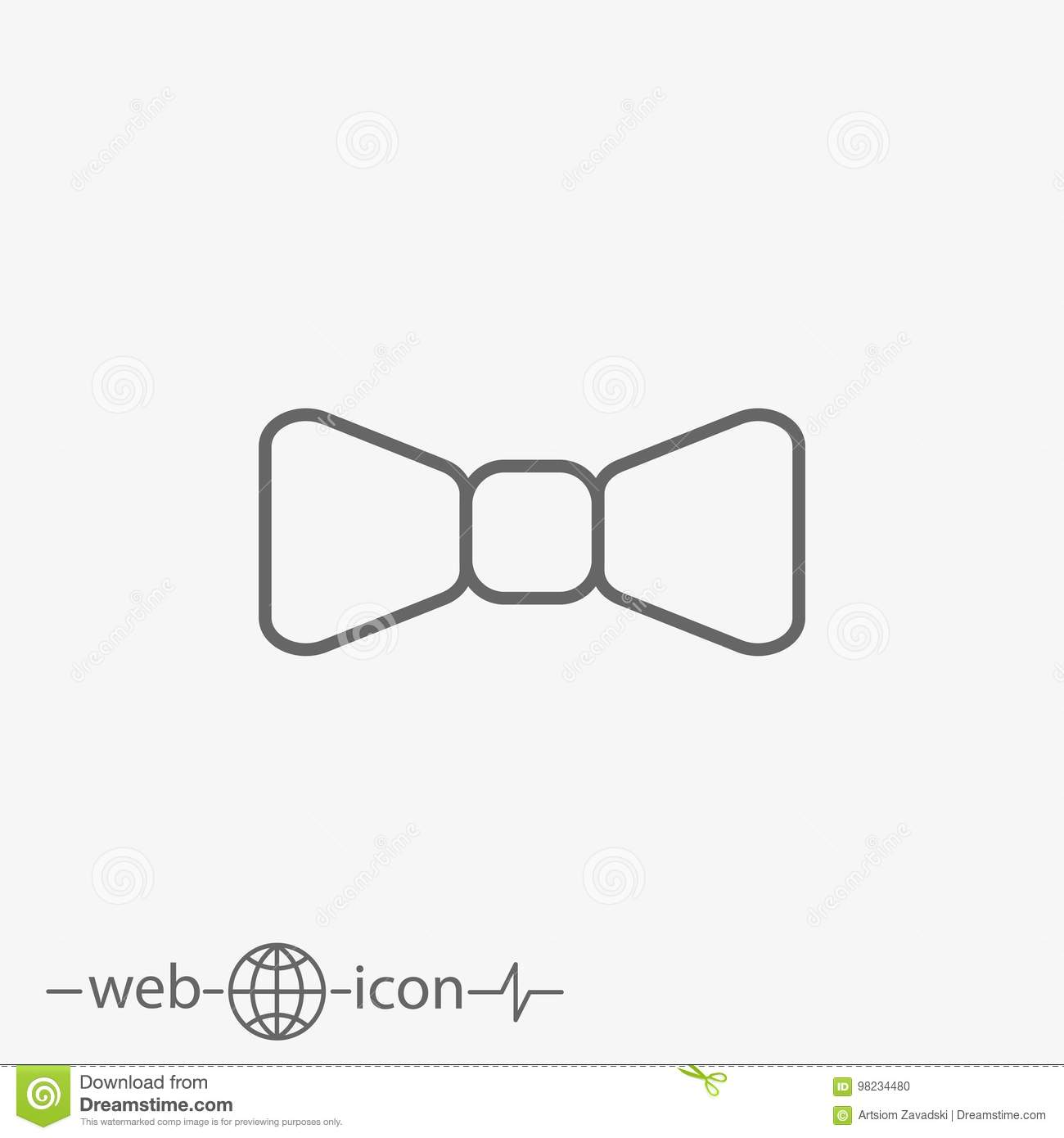 67d13a76ed93 Outline Bow Tie Vector Icon Stock Vector - Illustration of outline ...