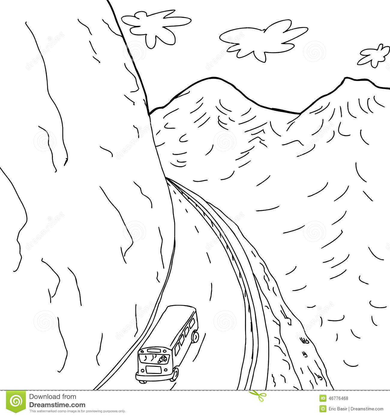 Outline Of Bus On Mountain Road Stock Vector - Illustration of ...