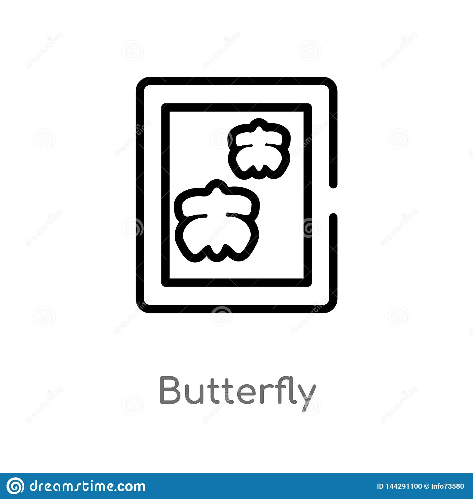 Outline Butterfly Vector Icon  Isolated Black Simple Line Element