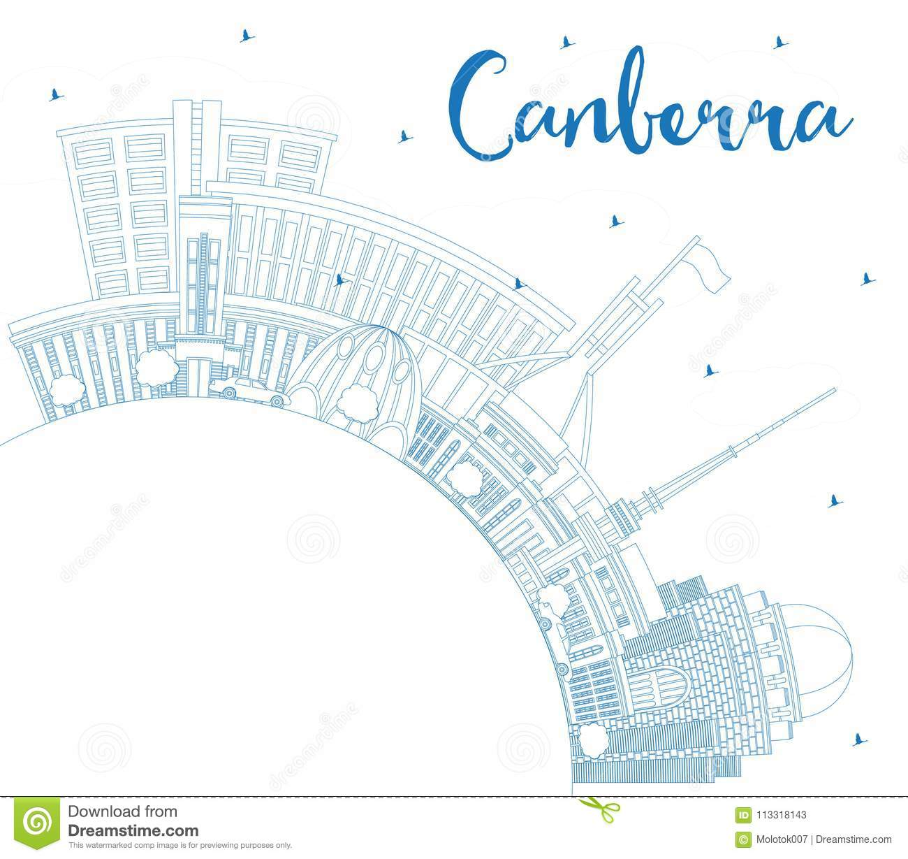 Outline Canberra Australia City Skyline with Blue Buildings and