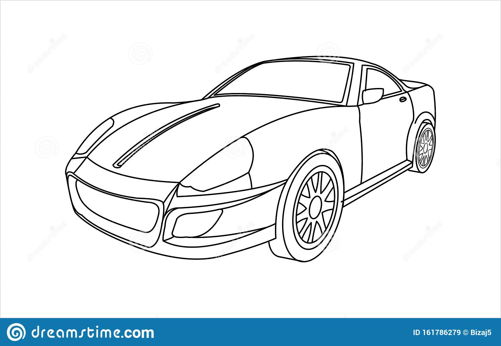 Outline Car For Coloring Book For Kids And Adults. Fast ...