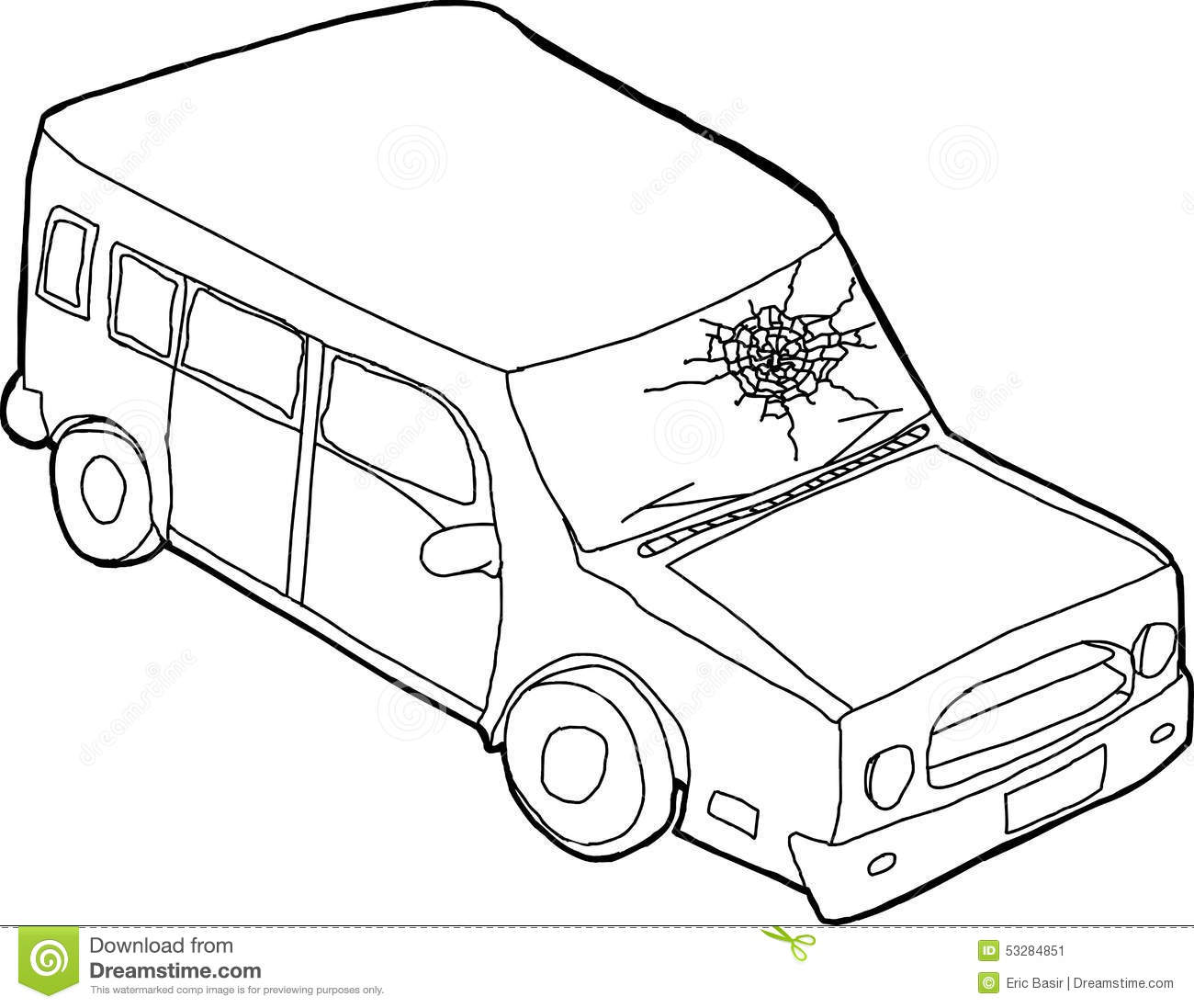 outline of car with fractured window stock illustration image