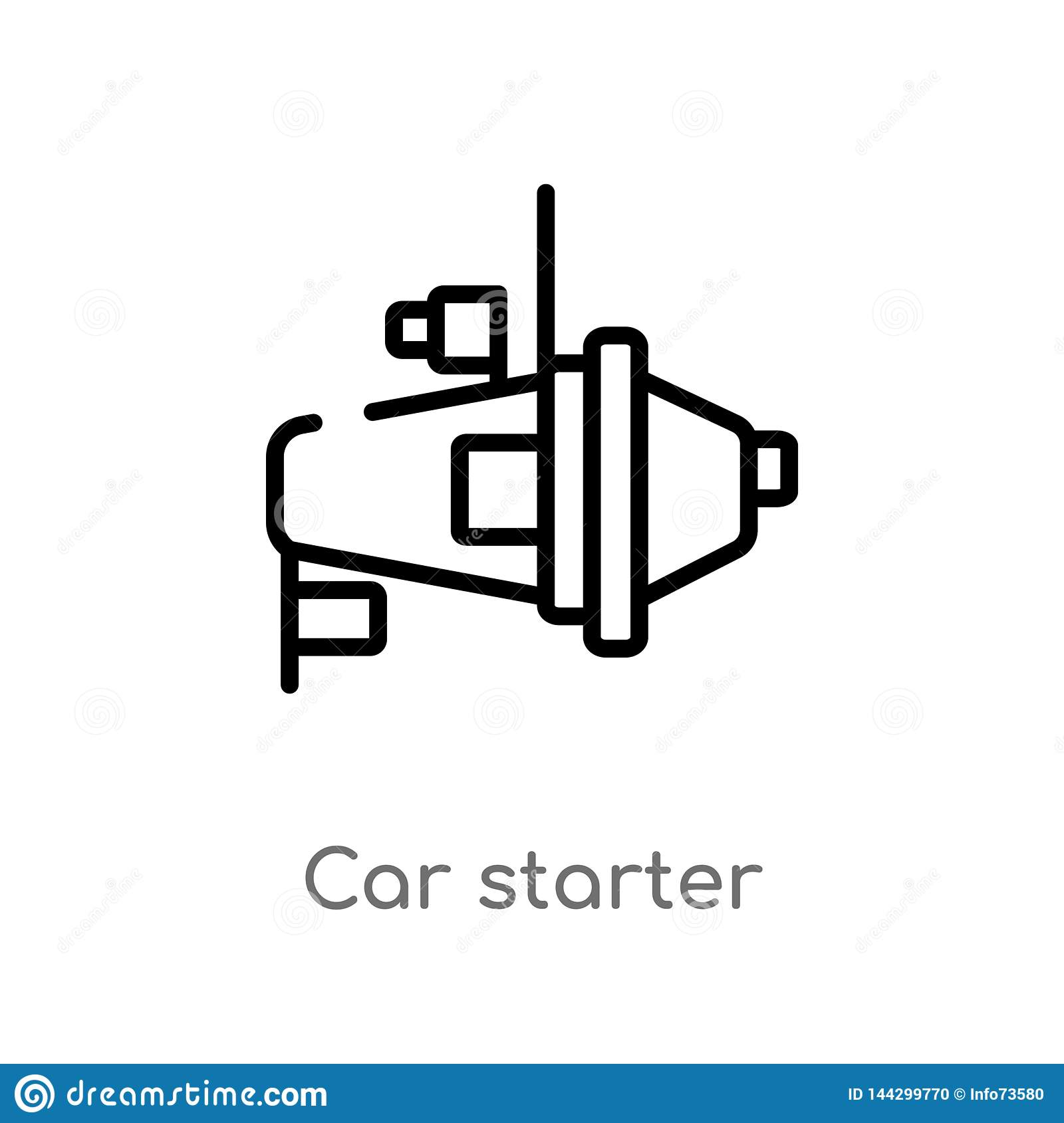 outline car starter vector icon  isolated black simple line element  illustration from car parts concept
