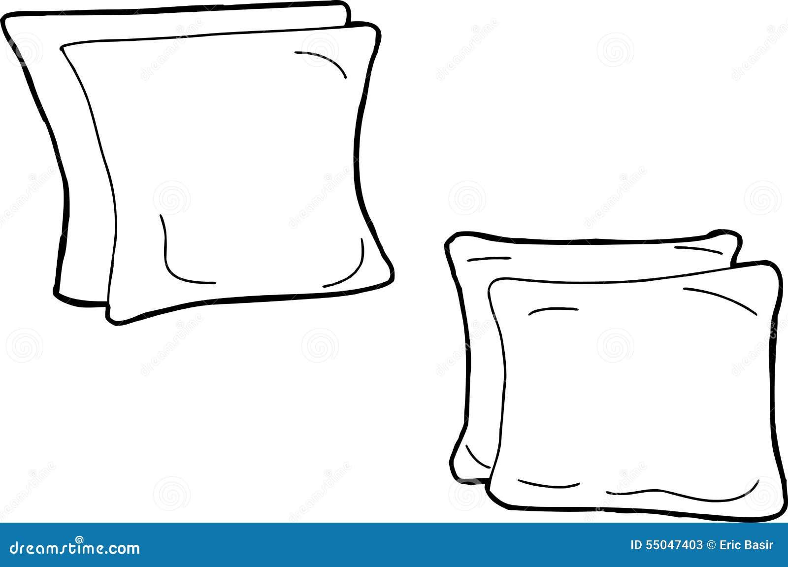 outline of cartoon cushions stock illustration